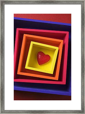 Heart In Boxes  Framed Print by Garry Gay