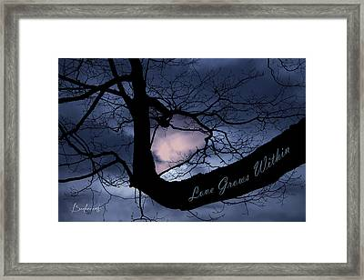 Heart In Tree Love Grows Within  Framed Print