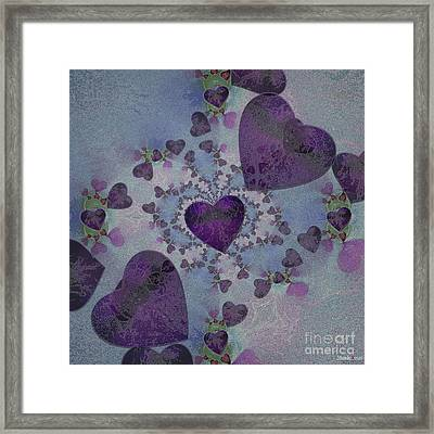 Heart Mix Blue Framed Print