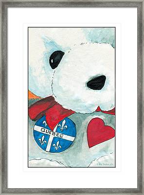 Framed Print featuring the drawing Heart Quebec Bear by Ana Tirolese