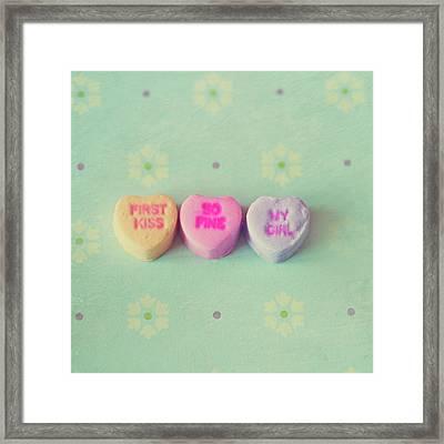 Heart Shape Candies Framed Print
