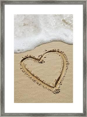 Heart-shape Drawn In Sand Framed Print by Tony Craddock