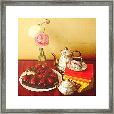 Heart Shaped Chocolate Strawberry Cake In Plate Framed Print by Julia Davila-Lampe