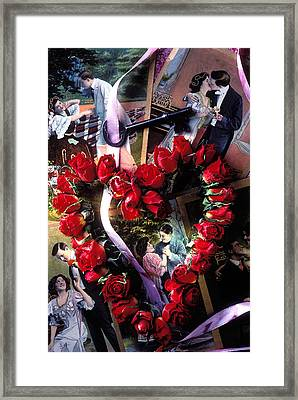 Heart Shaped Roses And Old Postcards Framed Print by Garry Gay