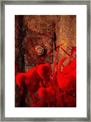 Hearts And Metal Framed Print by Martin  Fry