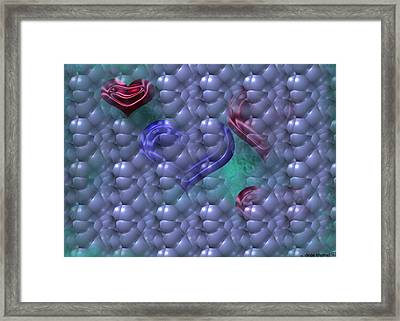 Hearts In Bubbles Framed Print by Dede Shamel Davalos