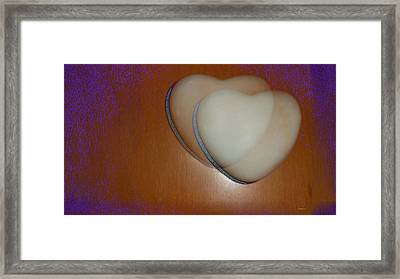 Hearts-marble Framed Print by Ines Garay-Colomba