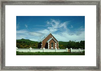 Heavenly Sky With Church Framed Print by Therese Alcorn