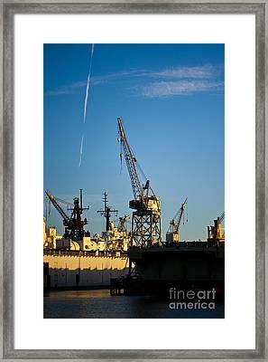 Heavy Equipment Cranes At Drydock Framed Print by Eddy Joaquim