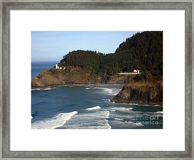 Framed Print featuring the photograph Heceta Head Lighthouse And Lightkeepers House by Glenna McRae