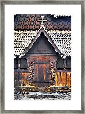 Heddal Stave Church Side Entrance Framed Print by Heiko Koehrer-Wagner