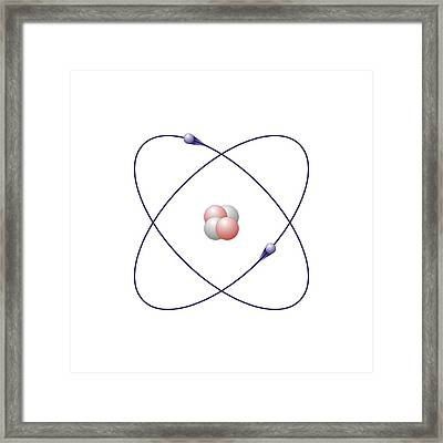 Helium, Atomic Model Framed Print by Friedrich Saurer