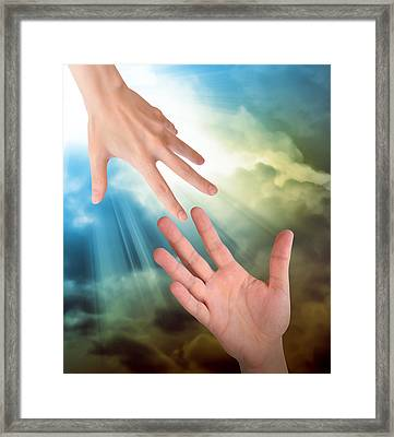 Helping Hands In Sky Framed Print by Angela Waye