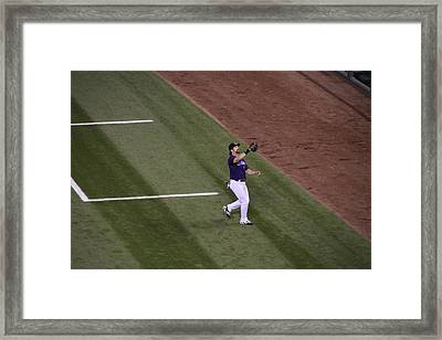 Helton Catches A Fly Ball Framed Print by Cynthia  Cox Cottam
