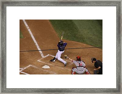 Helton Takes A Swing Framed Print by Cynthia  Cox Cottam