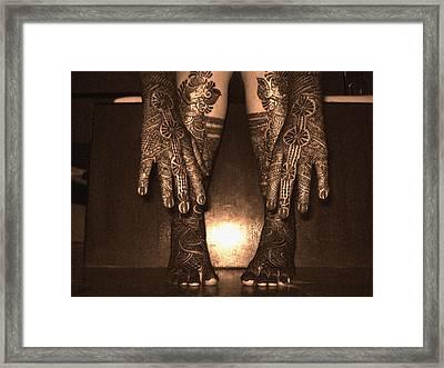 Henna Art On An Indian Bride Framed Print