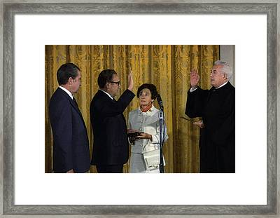 Henry Kissinger Being Sworn Framed Print by Everett
