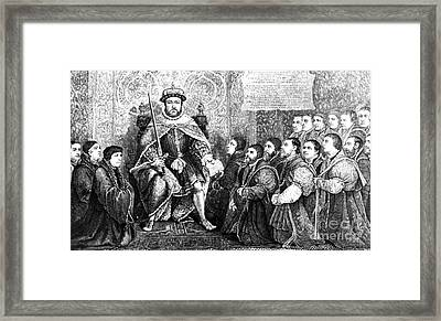 Henry Viii Presenting Charter To Barber Framed Print