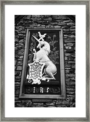 Heraldic Panel Royal Arms Of King James The Fifth V On The Wall Of The Abbey Courthouse Holyrood Edi Framed Print