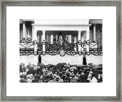 Herbert Hoover Takes Oath Of Office Framed Print by Everett