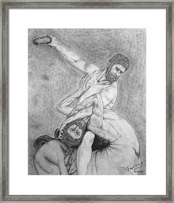 Hercules And The Centaur Framed Print by Miguel Rodriguez