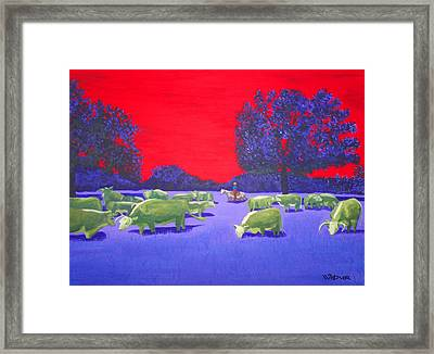 Hereford Herd Framed Print by Randall Weidner