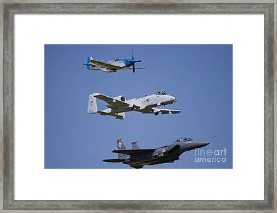 Heritage Flight Wings Over Whitman Framed Print by Linda Gardner-Goos