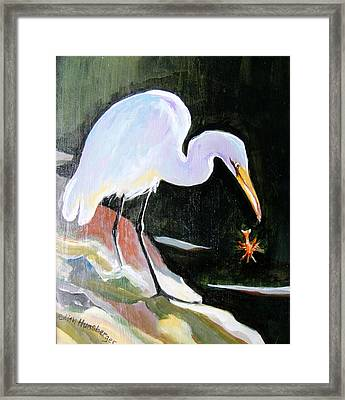 Heron And Crayfish Framed Print