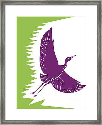 Heron Crane Flying Retro Framed Print by Aloysius Patrimonio