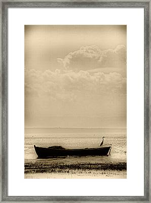 Heron On The Boat Framed Print