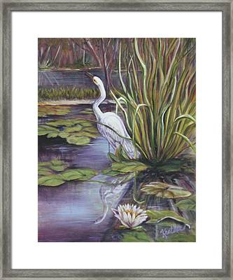 Framed Print featuring the painting Heron Standing Watch by Pauline  Kretler