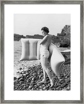 Hesitant Swimmer Framed Print by Chaloner Woods