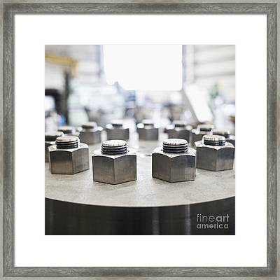 Hex Nuts Threaded On Bolts Framed Print by Jetta Productions, Inc