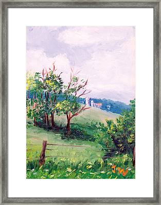 Framed Print featuring the painting Hickory Hillside by Joe Winkler