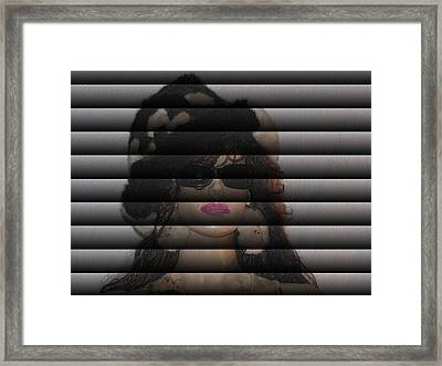 Hidden Behind The Blinds Framed Print by HollyWood Creation By linda zanini