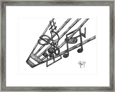 Hiding Among The Notes - Sketch Framed Print by Robert Meszaros