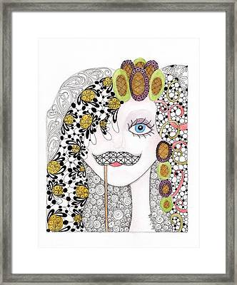 Hiding Behind The Mustache Framed Print