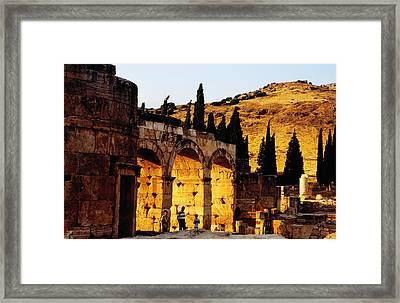 Hierapolis Ruins Near Hillside Framed Print by Izzet Keribar