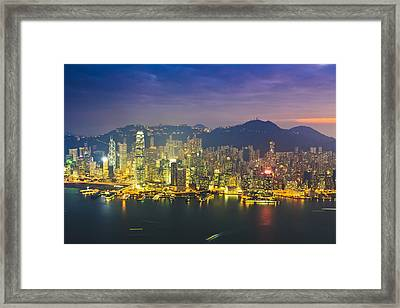 High Angle View Of Hong Kong Island At Sunset Framed Print by Fraser Hall