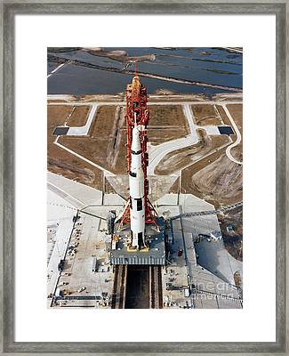 High-angle View Of The Apollo 10 Space Framed Print by Stocktrek Images