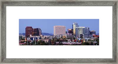High Rise Buildings Of Downtown Phoenix At Sunrise Framed Print by Jeremy Woodhouse