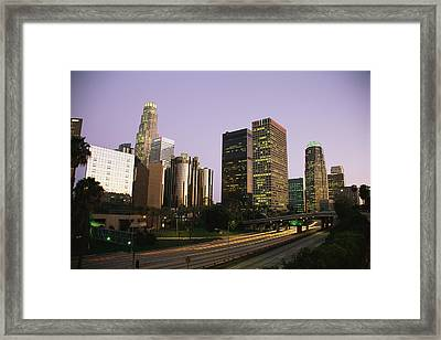 High Rises Along The Harbor Freeway Framed Print by Richard Nowitz