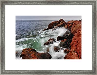 High Tide At Bass Harbor Head Framed Print by Rick Berk