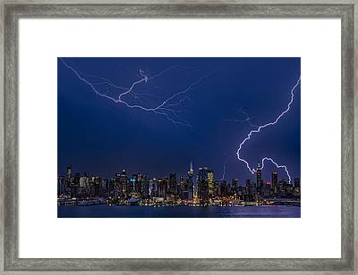 High Voltage In The  New York City Skyline Framed Print by Susan Candelario