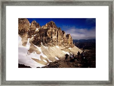 Hikers Resting At Bamberger Saddle, Gruppo Sella, Dolomites, Italy Framed Print by Witold Skrypczak
