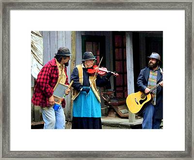Hill Billy Trio Framed Print by Mindy Newman