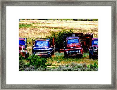 Hill Billy Used Auto Sales Framed Print by Andrea Camp