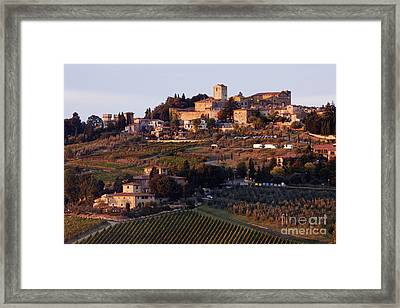 Hill Town Of Panzano At Dusk Framed Print by Jeremy Woodhouse
