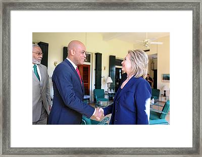 Hillary Clinton Meets With Haitian Framed Print by Everett