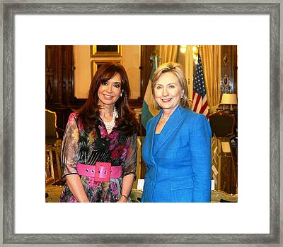 Hillary Clinton Poses With Argentine Framed Print